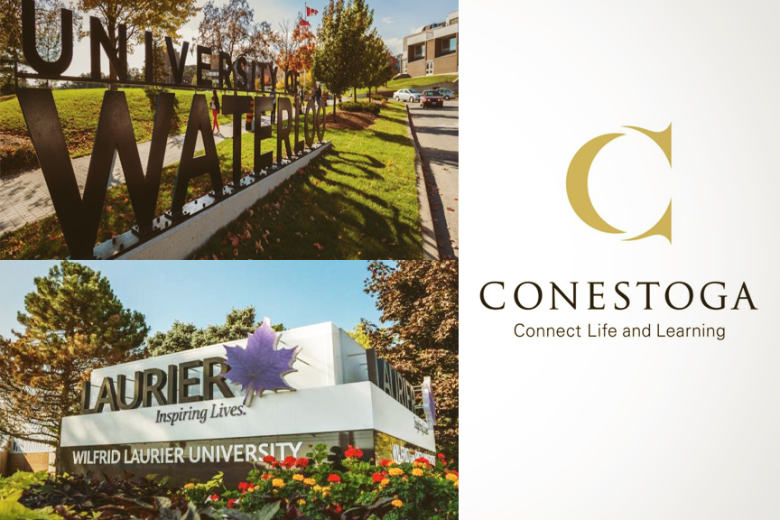 University of Waterloo, Wilfrid Laurier University, and Conestoga College signage