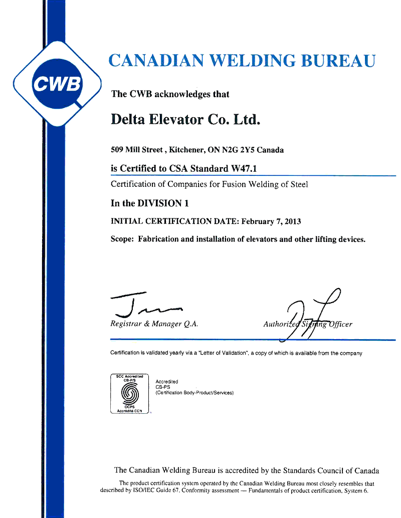 Delta is certified to CSA Standard W47.1
