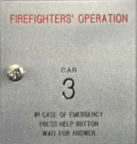 Firefighters' Operation panel inside an elevator cab
