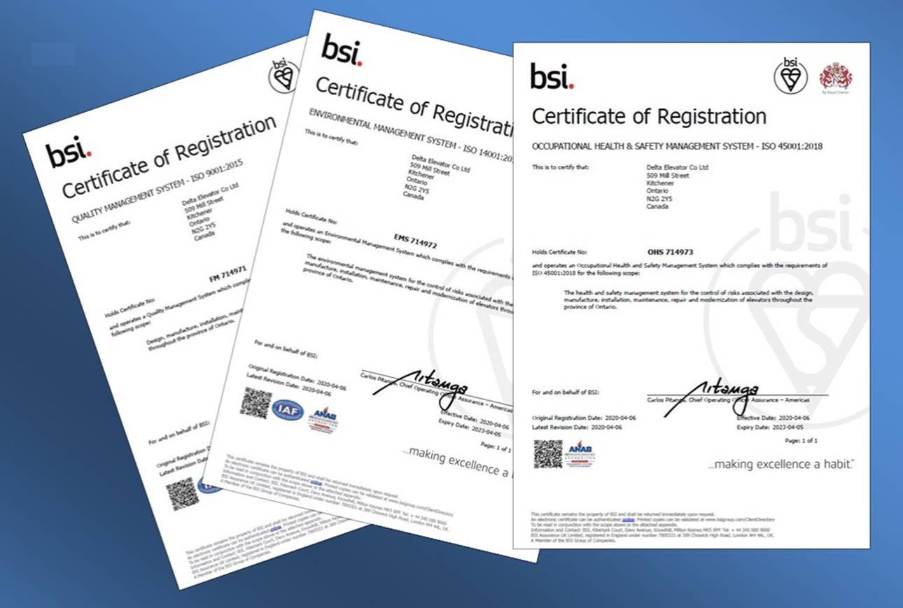 Picture of ISO Certificates of Registration laid out on a blue background.