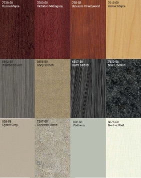 Swatches of laminate patterns