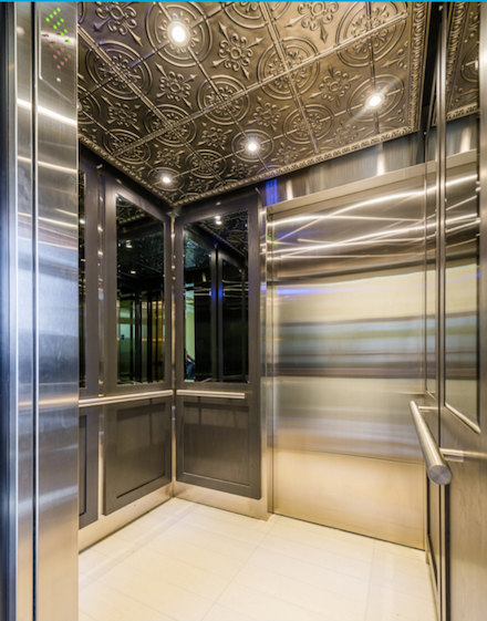 Interior of a steel elevator